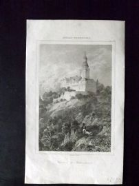 L'Univers C1850 Antique Print. Chateau du Falkenstein, Moselle, France